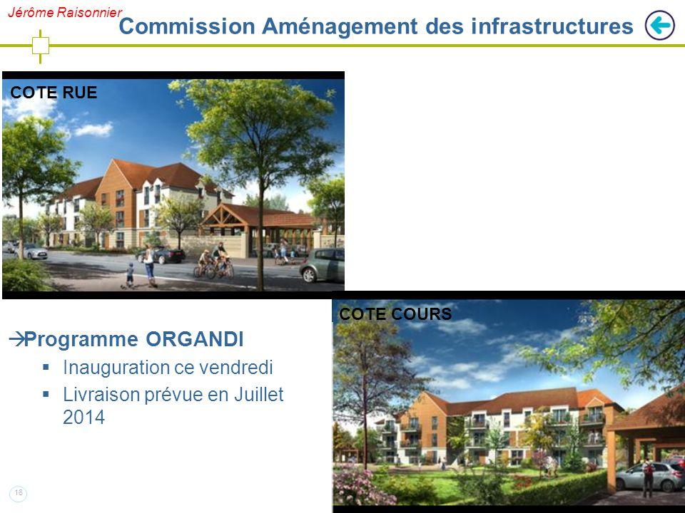 16  Programme ORGANDI  Inauguration ce vendredi  Livraison prévue en Juillet 2014 COTE RUE COTE COURS Jérôme Raisonnier Commission Aménagement des infrastructures