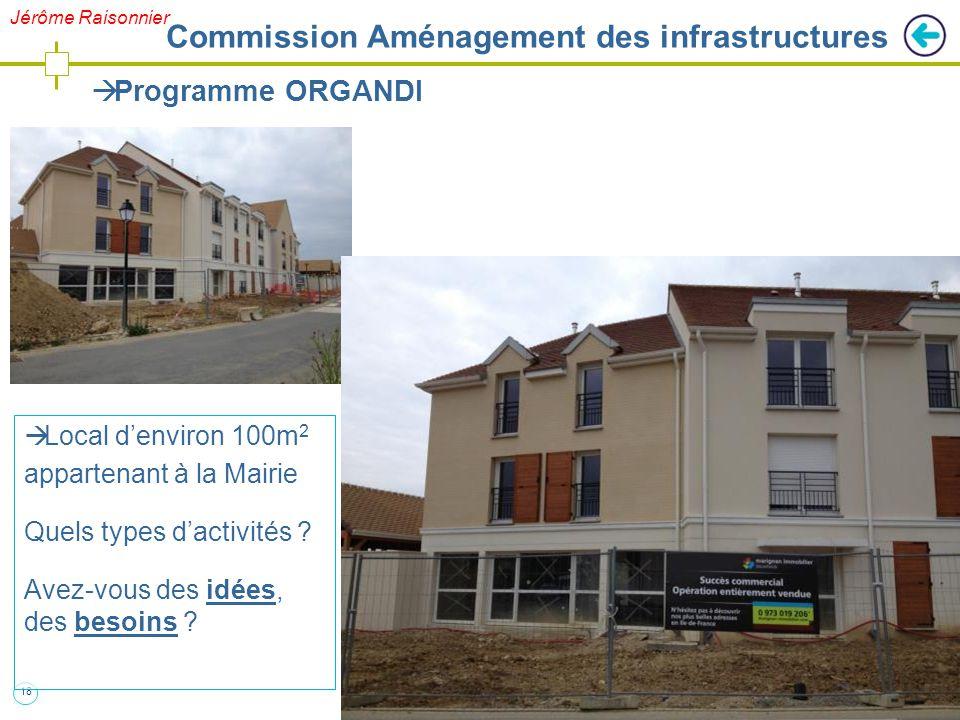 18  Programme ORGANDI  Local d'environ 100m 2 appartenant à la Mairie Quels types d'activités ? Avez-vous des idées, des besoins ? Jérôme Raisonnier