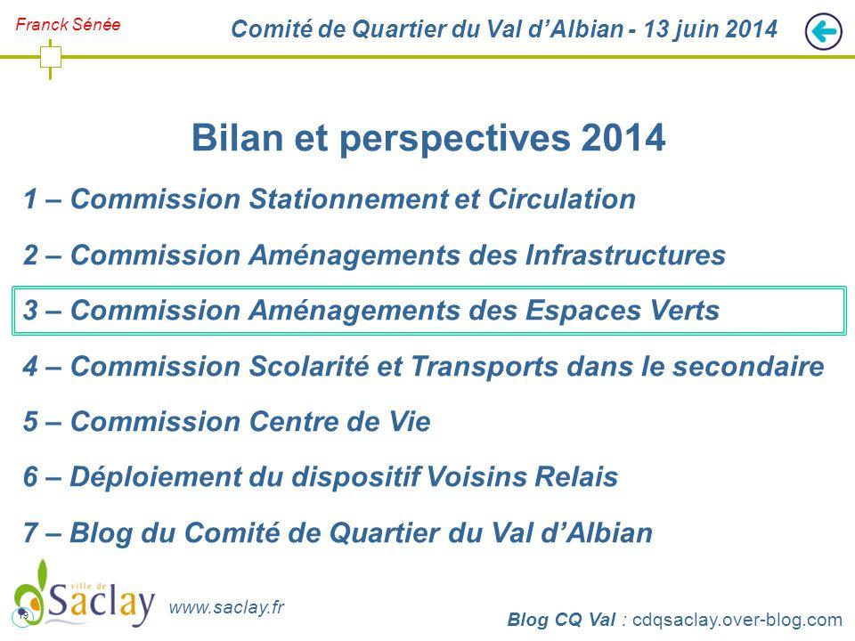 19 http://cdqsaclay.over-blog.com Franck Sénée Comité de Quartier du Val d'Albian - 13 juin 2014 Bilan et perspectives 2014 1 – Commission Stationneme