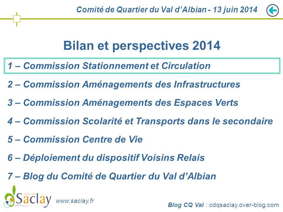 2 http://cdqsaclay.over-blog.com Comité de Quartier du Val d'Albian - 13 juin 2014 Bilan et perspectives 2014 1 – Commission Stationnement et Circulat