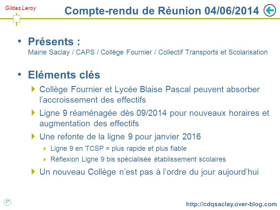 27 http://cdqsaclay.over-blog.com Gildas Leroy Compte-rendu de Réunion 04/06/2014 Présents : Mairie Saclay / CAPS / Collège Fournier / Collectif Trans