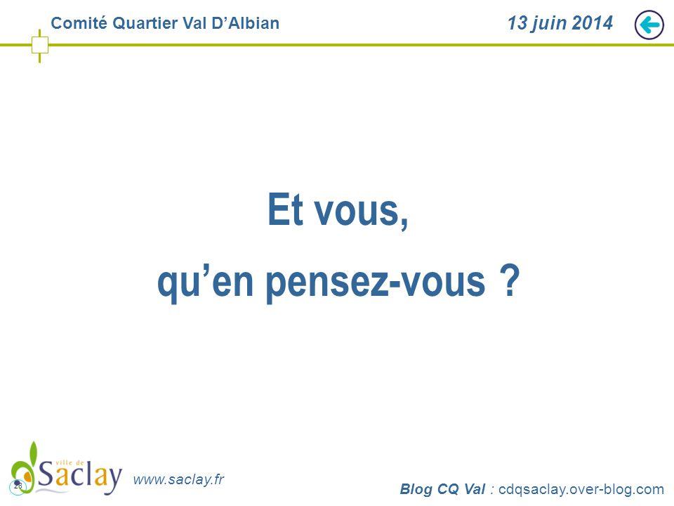 28 http://cdqsaclay.over-blog.com 13 juin 2014 Et vous, qu'en pensez-vous ? Blog CQ Val : cdqsaclay.over-blog.com www.saclay.fr Comité Quartier Val D'