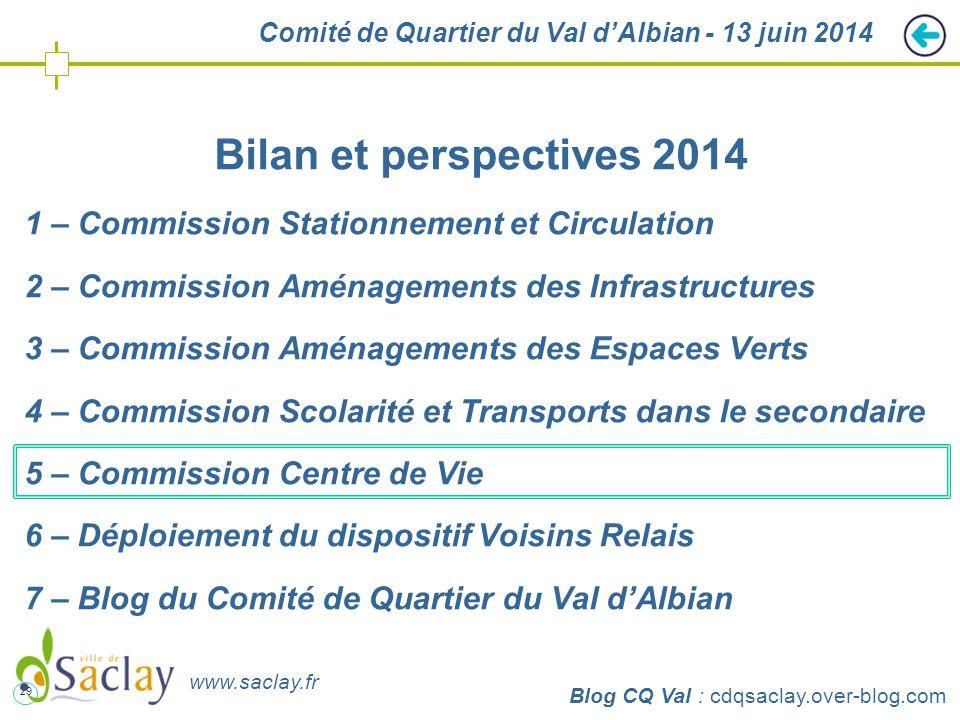 29 http://cdqsaclay.over-blog.com Comité de Quartier du Val d'Albian - 13 juin 2014 Bilan et perspectives 2014 1 – Commission Stationnement et Circula