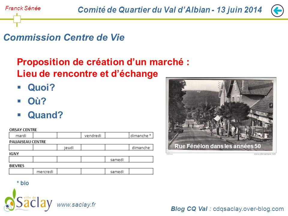 31 http://cdqsaclay.over-blog.com Franck Sénée Comité de Quartier du Val d'Albian - 13 juin 2014 Commission Centre de Vie Blog CQ Val : cdqsaclay.over-blog.com www.saclay.fr Proposition de création d'un marché : Lieu de rencontre et d'échange  Quoi.