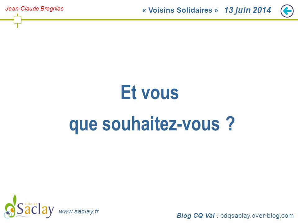 38 http://cdqsaclay.over-blog.com 13 juin 2014 Et vous que souhaitez-vous ? Blog CQ Val : cdqsaclay.over-blog.com www.saclay.fr Jean-Claude Bregnias «
