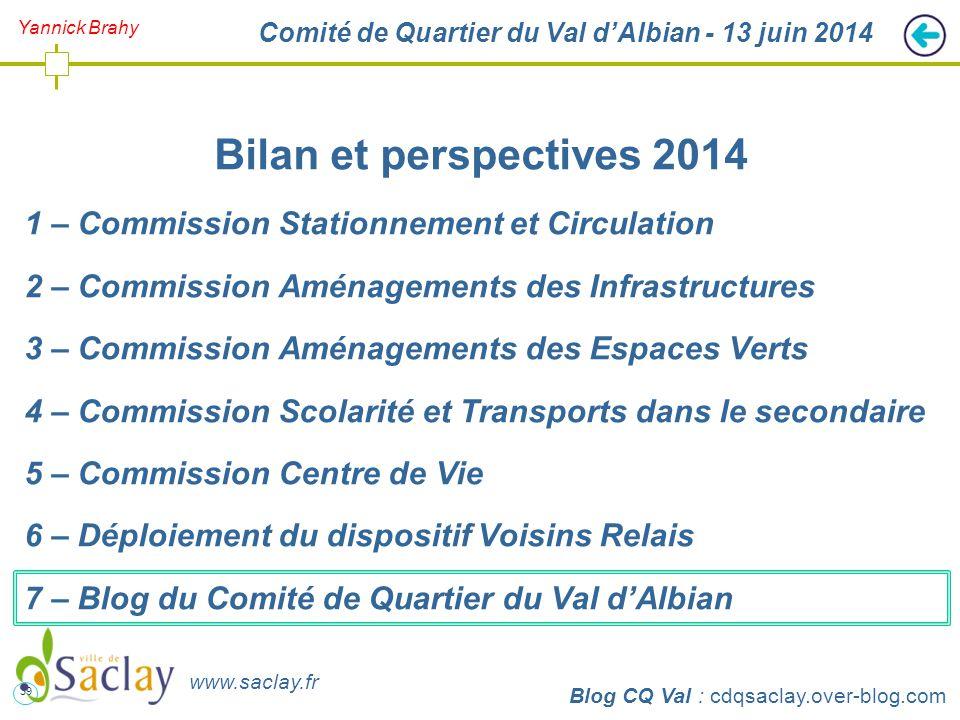39 http://cdqsaclay.over-blog.com Yannick Brahy Comité de Quartier du Val d'Albian - 13 juin 2014 Bilan et perspectives 2014 1 – Commission Stationnem