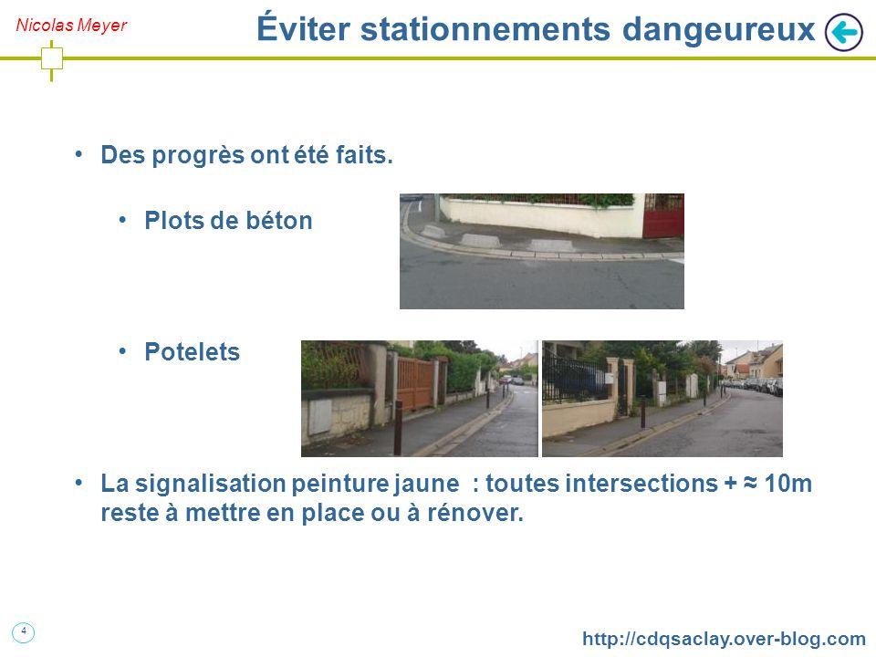 5 http://cdqsaclay.over-blog.com Éviter stationnements dangeureux La matérialisation des places pourrait se faire par des plots de béton plutôt que des lignes blanches.