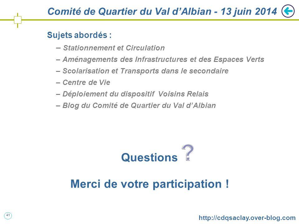 41 http://cdqsaclay.over-blog.com Comité de Quartier du Val d'Albian - 13 juin 2014 Sujets abordés : – Stationnement et Circulation – Aménagements des