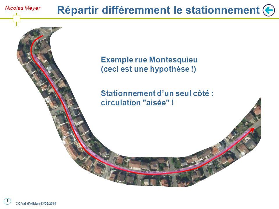 6 - CQ Val d'Albian 13/06/2014 Nicolas Meyer Répartir différemment le stationnement Exemple rue Montesquieu (ceci est une hypothèse !) Stationnement d'un seul côté : circulation aisée !