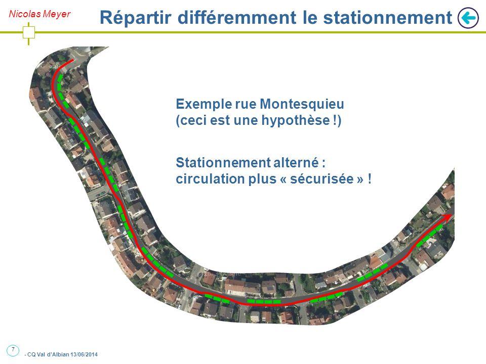 7 - CQ Val d'Albian 13/06/2014 Nicolas Meyer Répartir différemment le stationnement Exemple rue Montesquieu (ceci est une hypothèse !) Stationnement alterné : circulation plus « sécurisée » !