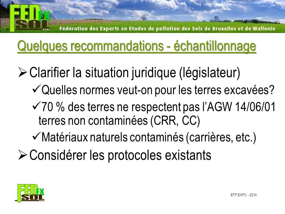 BTP EXPO - 2014 Quelques recommandations - échantillonnage  Clarifier la situation juridique (législateur) Quelles normes veut-on pour les terres excavées.