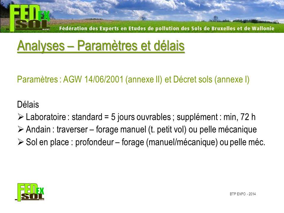 BTP EXPO - 2014 Analyses – Paramètres et délais Paramètres : AGW 14/06/2001 (annexe II) et Décret sols (annexe I) Délais  Laboratoire : standard = 5 jours ouvrables ; supplément : min, 72 h  Andain : traverser – forage manuel (t.