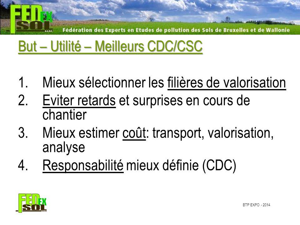 BTP EXPO - 2014 But – Utilité – Meilleurs CDC/CSC 1.Mieux sélectionner les filières de valorisation 2.Eviter retards et surprises en cours de chantier 3.Mieux estimer coût: transport, valorisation, analyse 4.Responsabilité mieux définie (CDC)