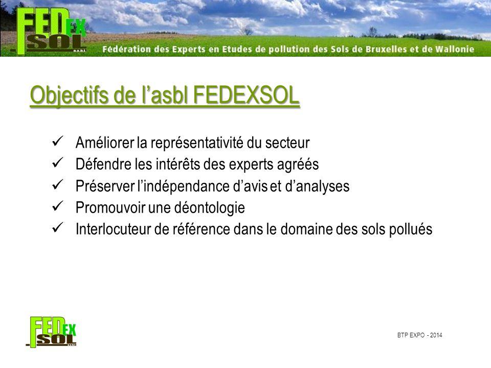 Objectifs de l'asbl FEDEXSOL Améliorer la représentativité du secteur Défendre les intérêts des experts agréés Préserver l'indépendance d'avis et d'analyses Promouvoir une déontologie Interlocuteur de référence dans le domaine des sols pollués