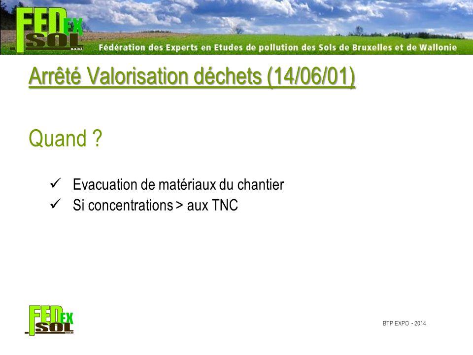 BTP EXPO - 2014 Arrêté Valorisation déchets (14/06/01) Quoi.