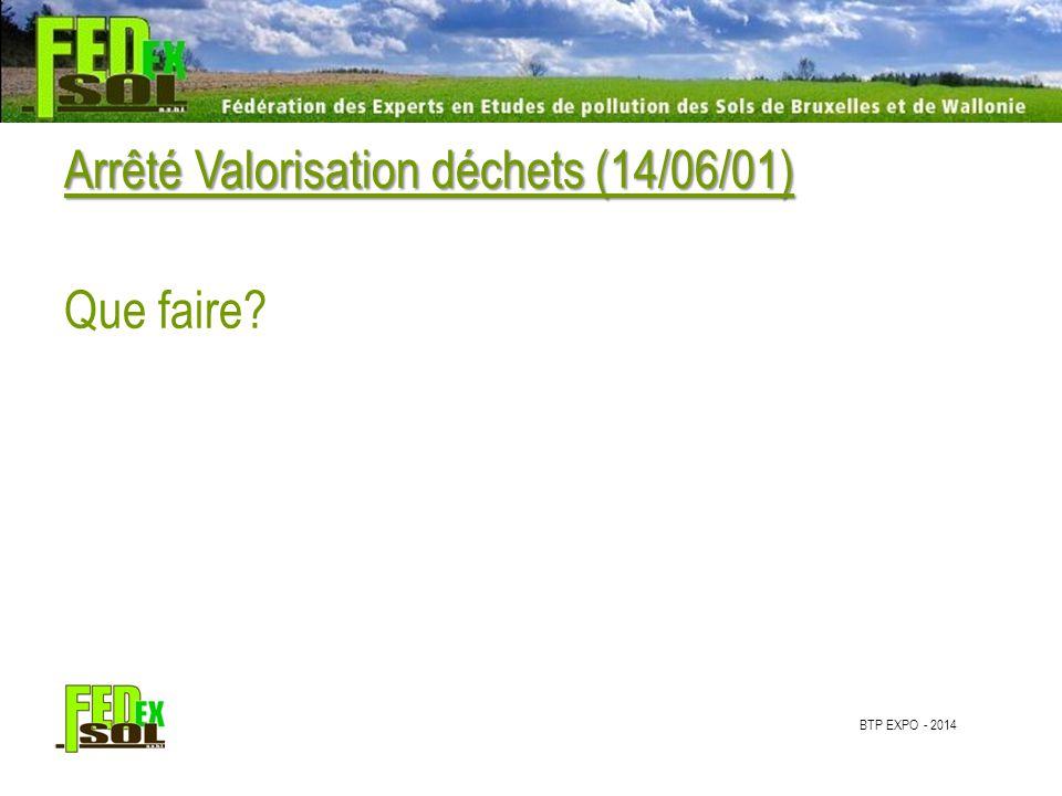 BTP EXPO - 2014 Arrêté Valorisation déchets (14/06/01) Que faire?