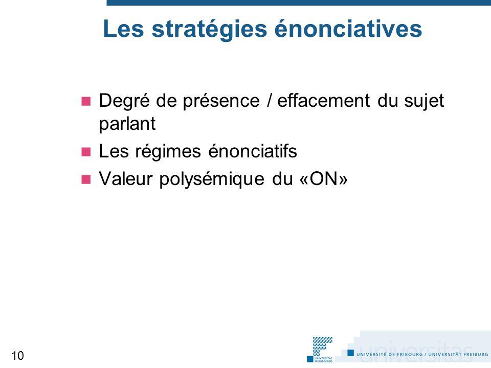 Les stratégies énonciatives Degré de présence / effacement du sujet parlant Les régimes énonciatifs Valeur polysémique du «ON» 10