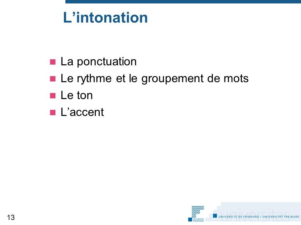 L'intonation La ponctuation Le rythme et le groupement de mots Le ton L'accent 13