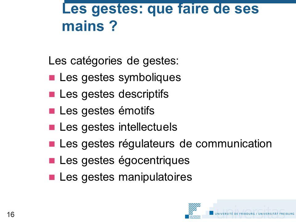 Les gestes: que faire de ses mains ? Les catégories de gestes: Les gestes symboliques Les gestes descriptifs Les gestes émotifs Les gestes intellectue