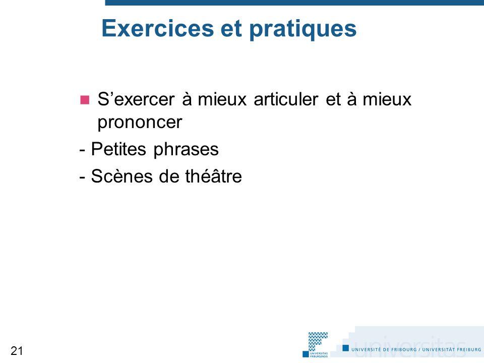Exercices et pratiques S'exercer à mieux articuler et à mieux prononcer - Petites phrases - Scènes de théâtre 21