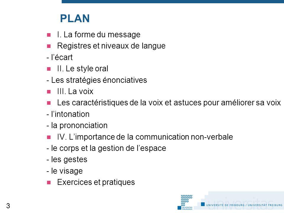 PLAN I. La forme du message Registres et niveaux de langue - l'écart II. Le style oral - Les stratégies énonciatives III. La voix Les caractéristiques