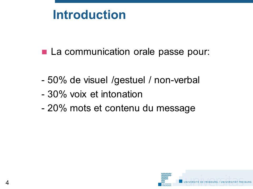 Introduction La communication orale passe pour: - 50% de visuel /gestuel / non-verbal - 30% voix et intonation - 20% mots et contenu du message 4