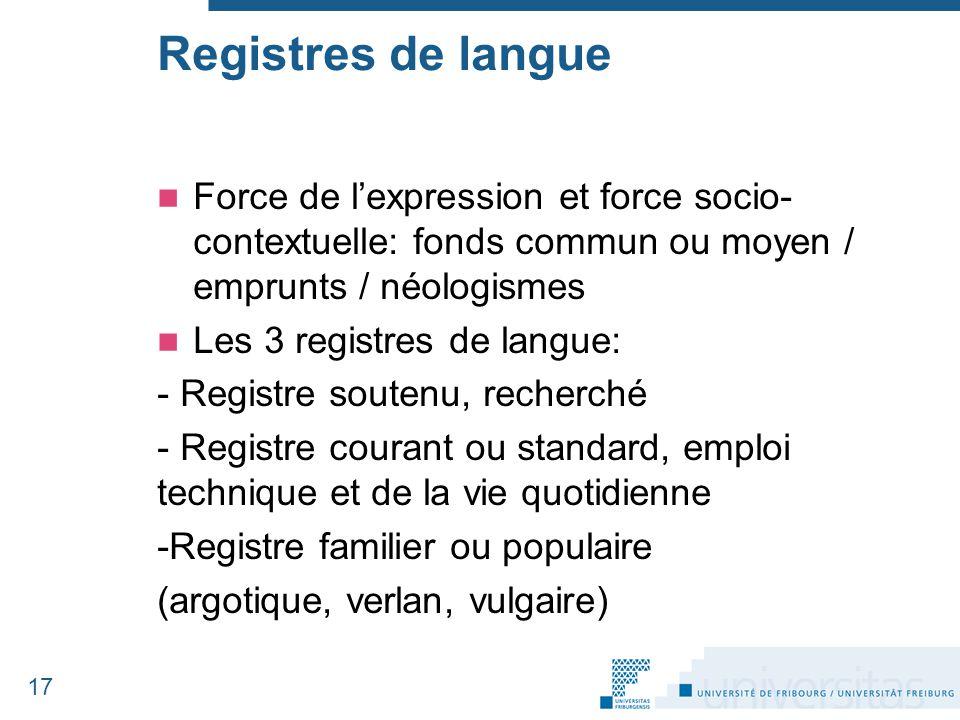 Force de l'expression et force socio- contextuelle: fonds commun ou moyen / emprunts / néologismes Les 3 registres de langue: - Registre soutenu, rech