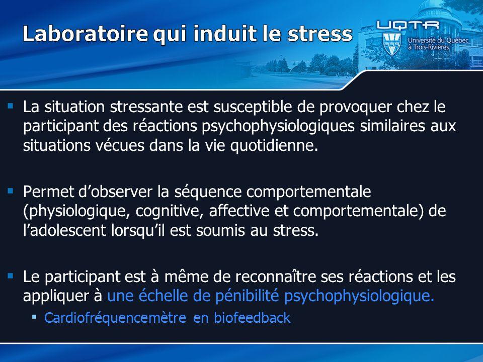 La situation stressante est susceptible de provoquer chez le participant des réactions psychophysiologiques similaires aux situations vécues dans la vie quotidienne.