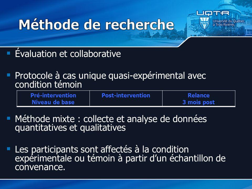 Évaluation et collaborative Protocole à cas unique quasi-expérimental avec condition témoin Méthode mixte : collecte et analyse de données quantitativ