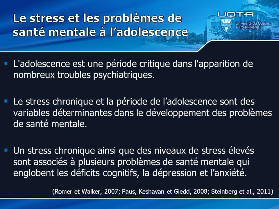 L adolescence est une période critique dans l apparition de nombreux troubles psychiatriques.