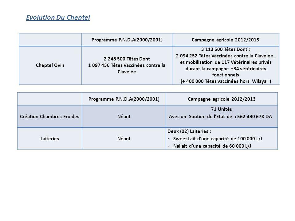 Evolution Du Cheptel Programme P.N.D.A(2000/2001)Campagne agricole 2012/2013 Cheptel Ovin 2 248 500 Têtes Dont 1 097 436 Têtes Vaccinées contre la Clavelée 3 113 500 Têtes Dont : 2 094 252 Têtes Vaccinées contre la Clavelée, et mobilisation de 117 Vétérinaires privés durant la campagne +34 vétérinaires fonctionnels (+ 400 000 Têtes vaccinées hors Wilaya ) Programme P.N.D.A(2000/2001)Campagne agricole 2012/2013 Création Chambres FroidesNéant 71 Unités -Avec un Soutien de l'Etat de : 562 430 678 DA LaiteriesNéant Deux (02) Laiteries : - Sweet Lait d'une capacité de 100 000 L/J - Nailait d'une capacité de 60 000 L/J