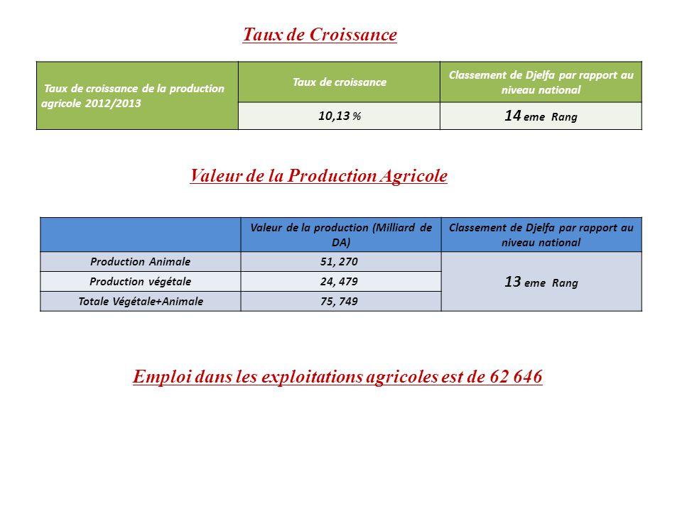 Taux de Croissance Taux de croissance de la production agricole 2012/2013 Taux de croissance Classement de Djelfa par rapport au niveau national 10,13 % 14 eme Rang Valeur de la Production Agricole Valeur de la production (Milliard de DA) Classement de Djelfa par rapport au niveau national Production Animale51, 270 13 eme Rang Production végétale24, 479 Totale Végétale+Animale75, 749 Emploi dans les exploitations agricoles est de 62 646