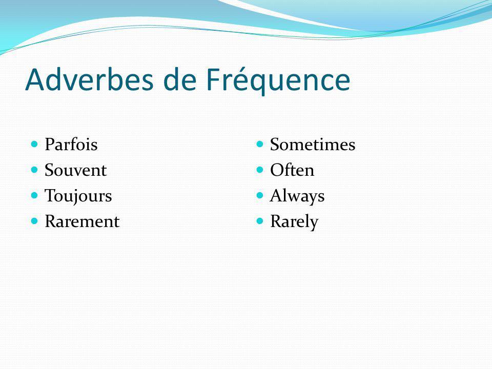 Adverbes de Fréquence Parfois Souvent Toujours Rarement Sometimes Often Always Rarely