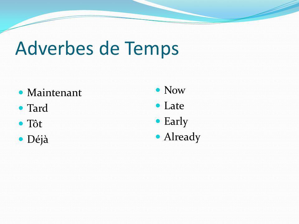 Adverbes de Temps Maintenant Tard Tôt Déjà Now Late Early Already