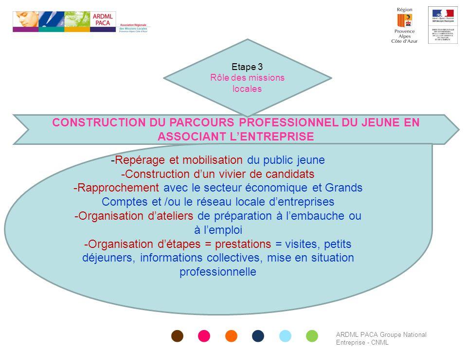 ARDML PACA Groupe National Entreprise - CNML CONSTRUCTION DU PARCOURS PROFESSIONNEL DU JEUNE EN ASSOCIANT L'ENTREPRISE -Repérage et mobilisation du pu