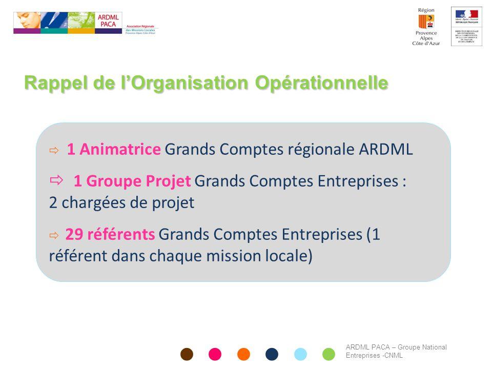 Rappel de l'Organisation Opérationnelle  1 Animatrice Grands Comptes régionale ARDML  1 Groupe Projet Grands Comptes Entreprises : 2 chargées de pro