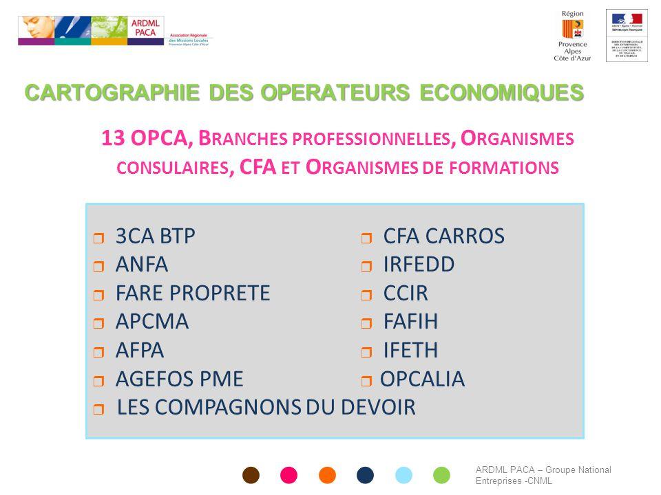 CARTOGRAPHIE DES OPERATEURS ECONOMIQUES 13 OPCA, B RANCHES PROFESSIONNELLES, O RGANISMES CONSULAIRES, CFA ET O RGANISMES DE FORMATIONS  3CA BTP  CFA