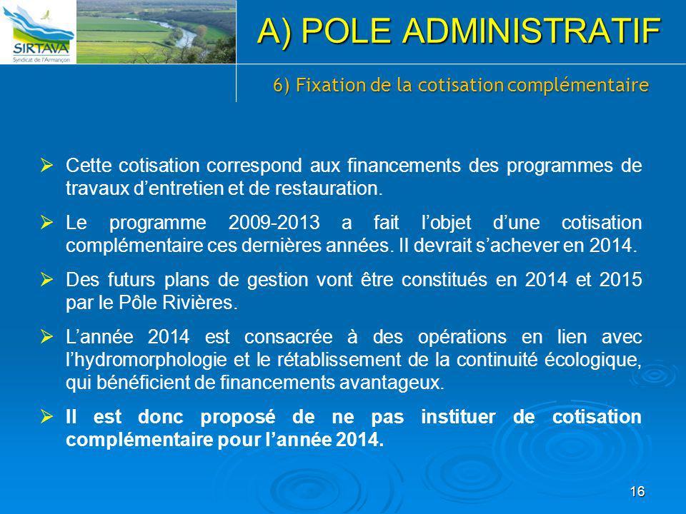6) Fixation de la cotisation complémentaire  Cette cotisation correspond aux financements des programmes de travaux d'entretien et de restauration. 
