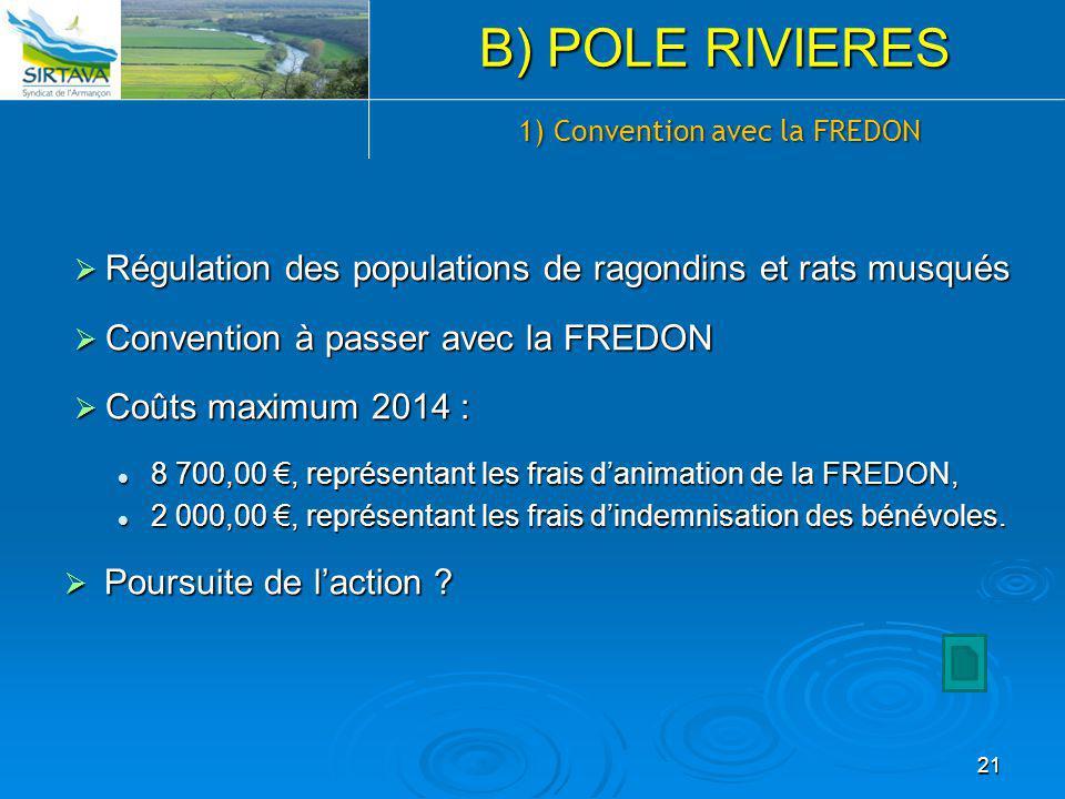  Régulation des populations de ragondins et rats musqués  Convention à passer avec la FREDON  Coûts maximum 2014 : 8 700,00 €, représentant les fra