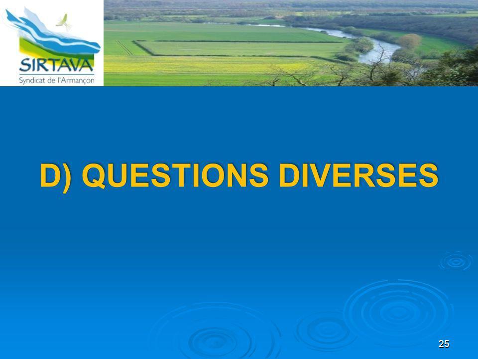 25 D) QUESTIONS DIVERSES