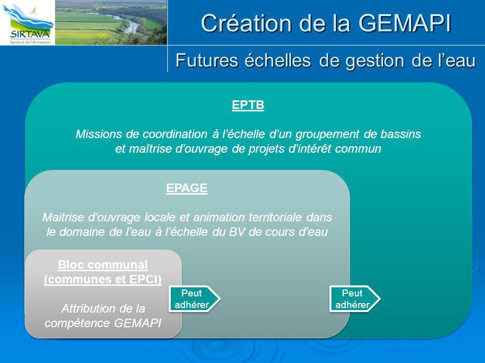 Futures échelles de gestion de l'eau EPTB Missions de coordination à l'échelle d'un groupement de bassins et maîtrise d'ouvrage de projets d'intérêt c