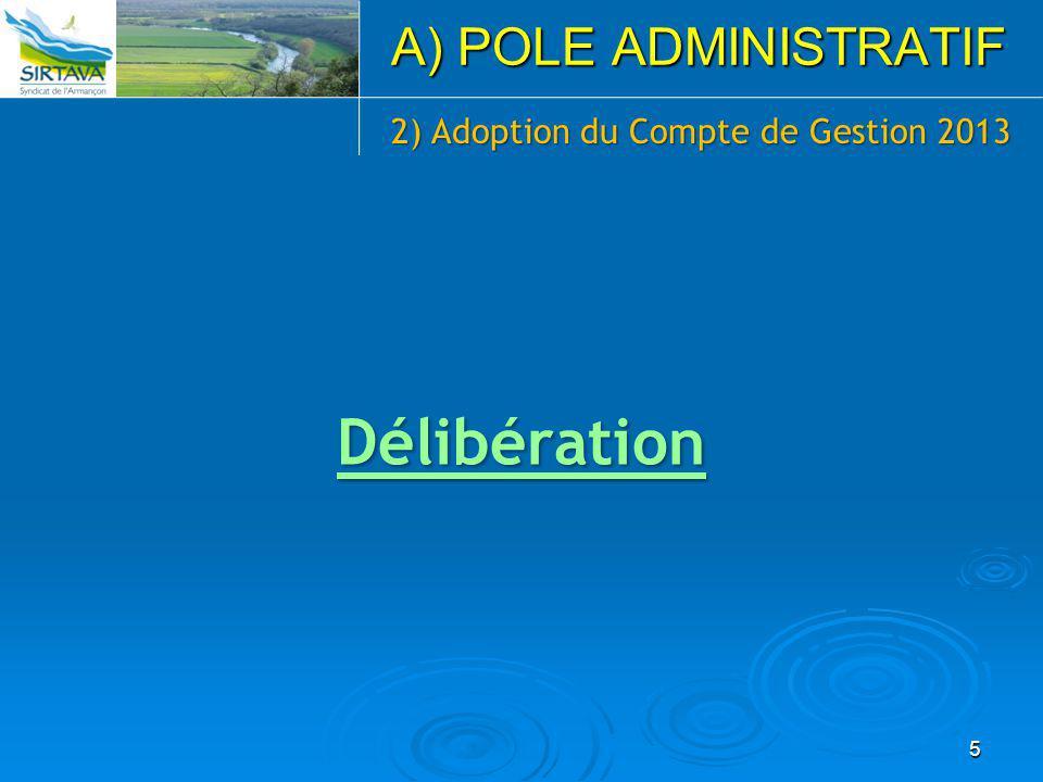 5 A) POLE ADMINISTRATIF 2) Adoption du Compte de Gestion 2013 Délibération