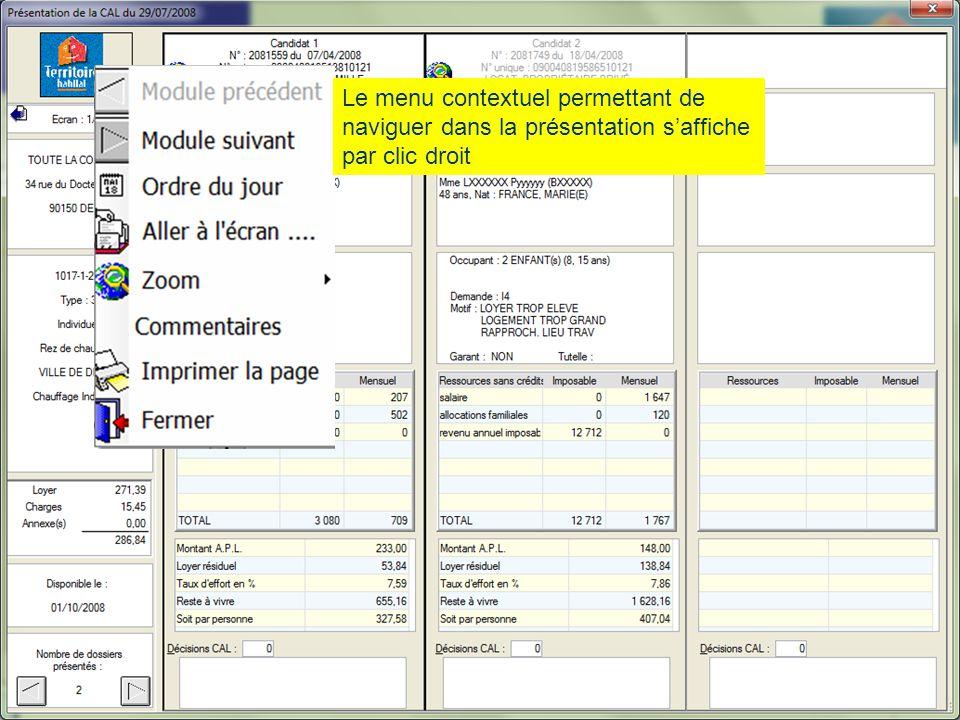 Fonctionnement Présentation du 13 juin 2012 Le menu contextuel permettant de naviguer dans la présentation s'affiche par clic droit