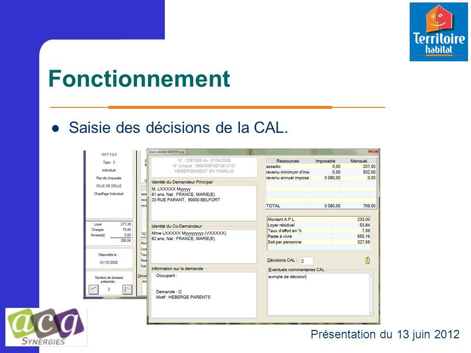 Fonctionnement Présentation du 13 juin 2012 Saisie des décisions de la CAL.