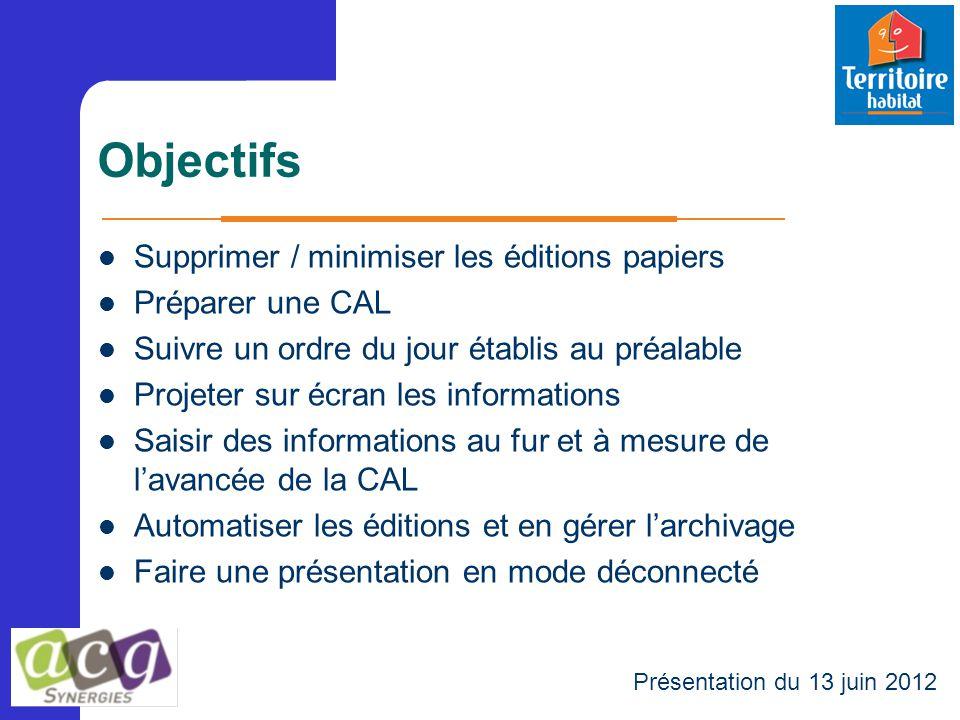Objectifs Supprimer / minimiser les éditions papiers Préparer une CAL Suivre un ordre du jour établis au préalable Projeter sur écran les informations