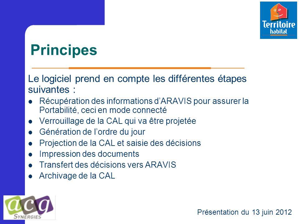 Principes Le logiciel prend en compte les différentes étapes suivantes : Récupération des informations d'ARAVIS pour assurer la Portabilité, ceci en m