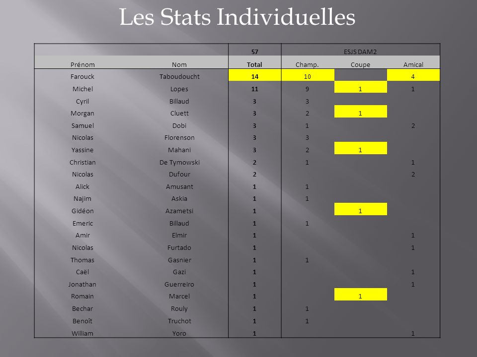 Les Stats Individuelles 57ESJS DAM2 PrénomNomTotalChamp.CoupeAmical FarouckTaboudoucht1410 4 MichelLopes11911 CyrilBillaud33 MorganCluett321 SamuelDob