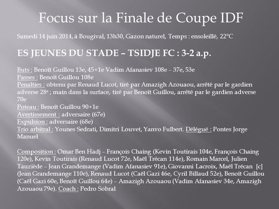 Focus sur la Finale de Coupe IDF Samedi 14 juin 2014, à Bougival, 13h30, Gazon naturel, Temps : ensoleillé, 22°C ES JEUNES DU STADE – TSIDJE FC : 3-2