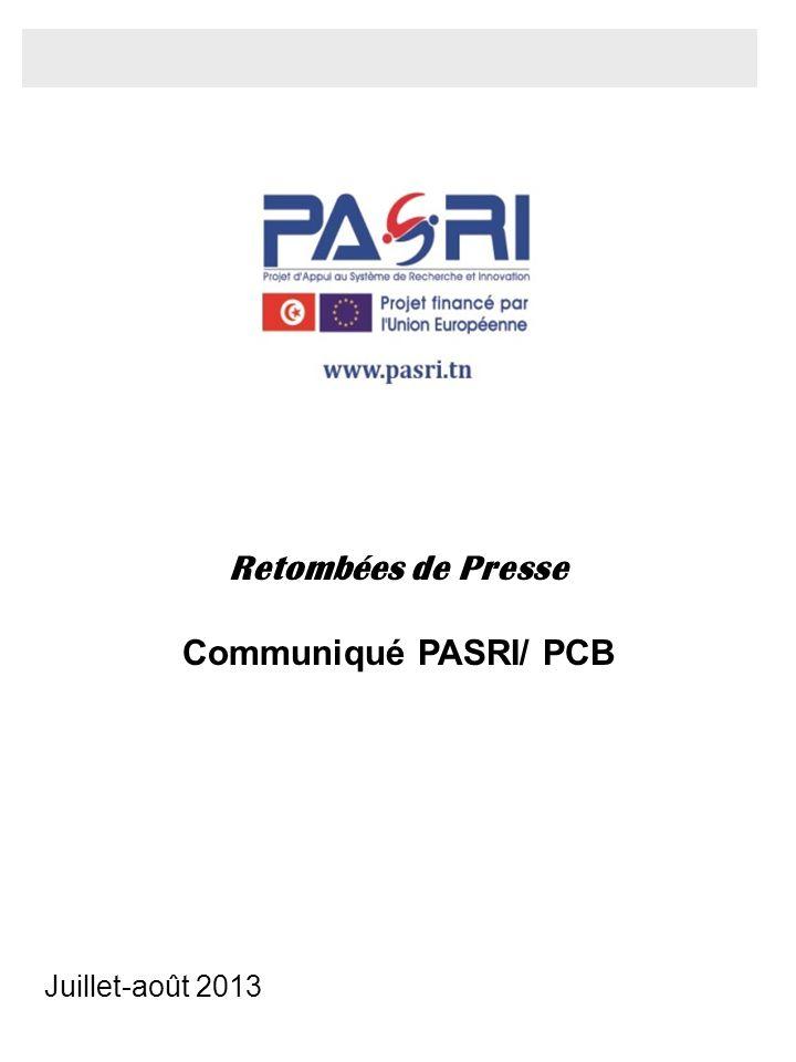 Juillet-août 2013 Retombées de Presse Communiqué PASRI/ PCB
