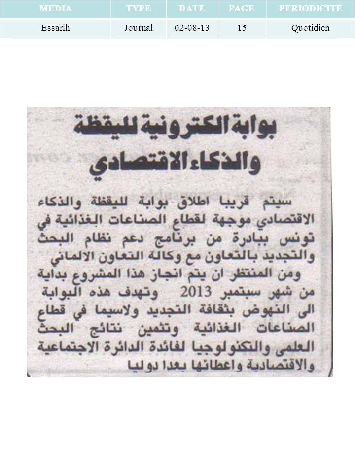 MEDIATYPEDATEPAGEPERIODICITE EssarihJournal02-08-1315Quotidien